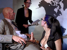 Peta Jensen does a messy under-the-table blowjob