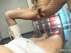 Tight brown haired Japanese slut Asahi Miura in foot fetish scene
