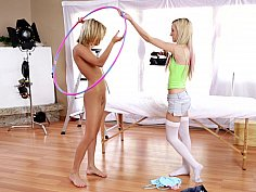 Nude and Clothed Female Having Erotic Fun Alone