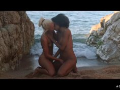 Horny lesbians are having an explosive interracial sex party outside