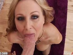 Horny MILF Julia Ann gives a sloppy POV blowjob
