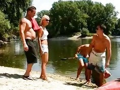 Hot French wife gets triple penetrated in gangbang