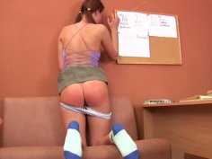 Naughty teen chick Skye gets punished and spanked by Nick