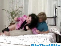 Mature brunette bald pussy rip by young ginger dude