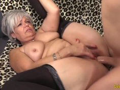 Libidinous Grandma Kelly Leigh Takes His Long Cock Hard and Deep
