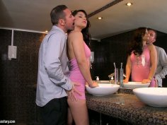 Luxurious brunette cutie Lana S gives awesome blowjob