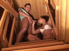 Dirty girl is sucking her boyfriends dick on stairs