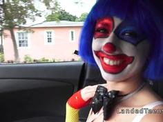 Petite teen clown fucking outdoor pov