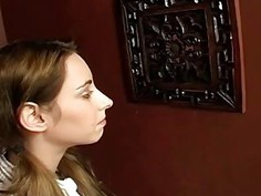 Shy brunette visits glory hole and sucks big cock