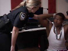 Black Thug with big cock fucking two female cops in uniforms