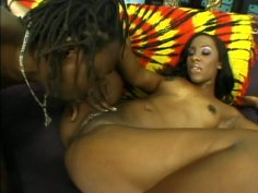 Frisky black babe gets her muf dived by aroused hairy dude